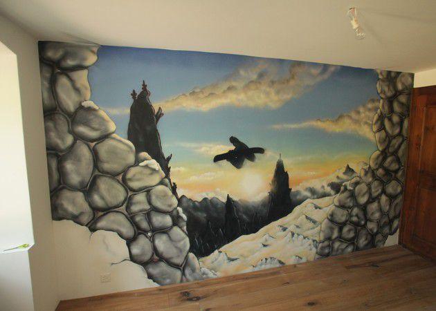 Peinture d corative paysage trompe l oeil et lettrages graffiti bruxelles 1000 - Trompe l oeil peinture ...